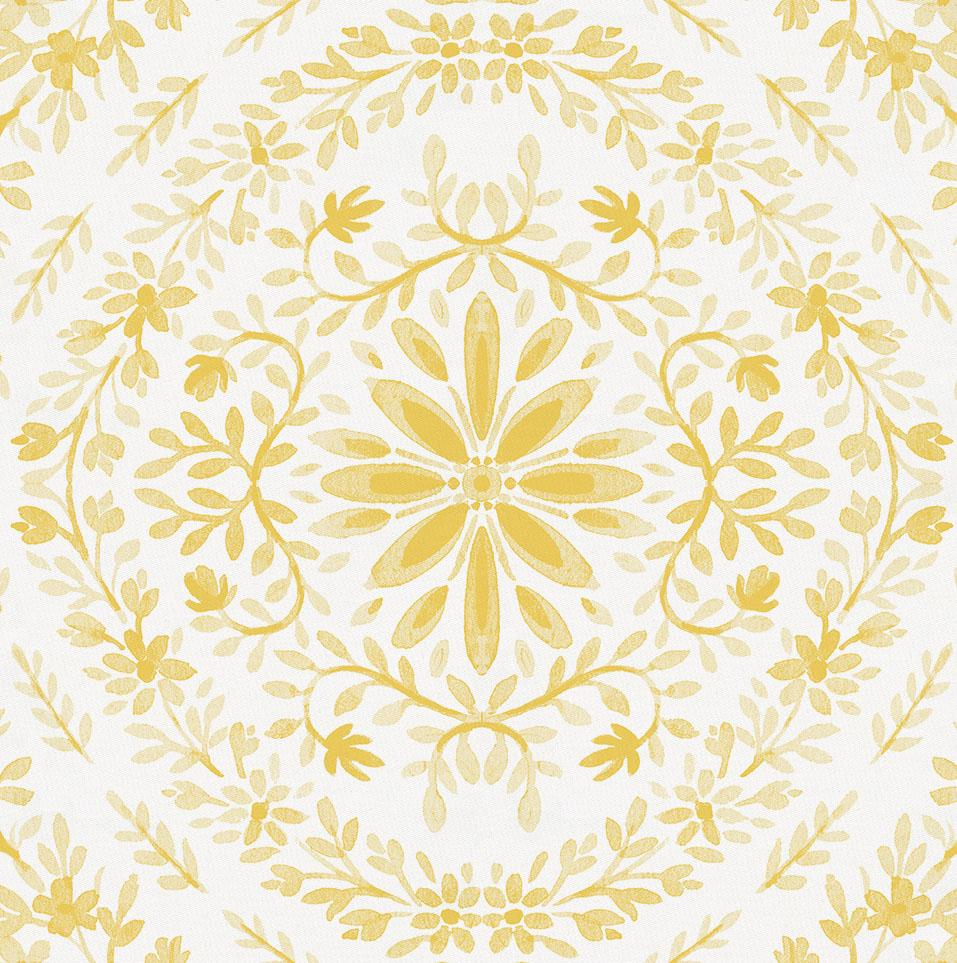 Product image for Yellow Floral Damask Baby Blanket