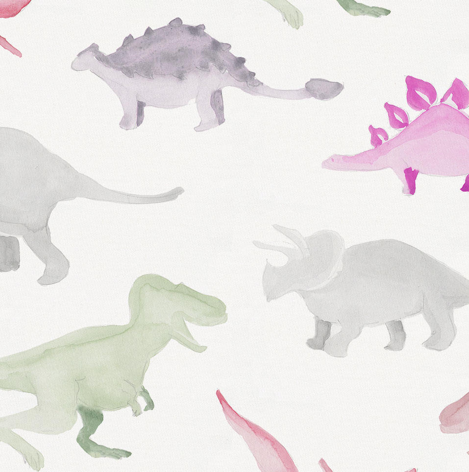 Product image for Pink Watercolor Dinosaurs Crib Sheet