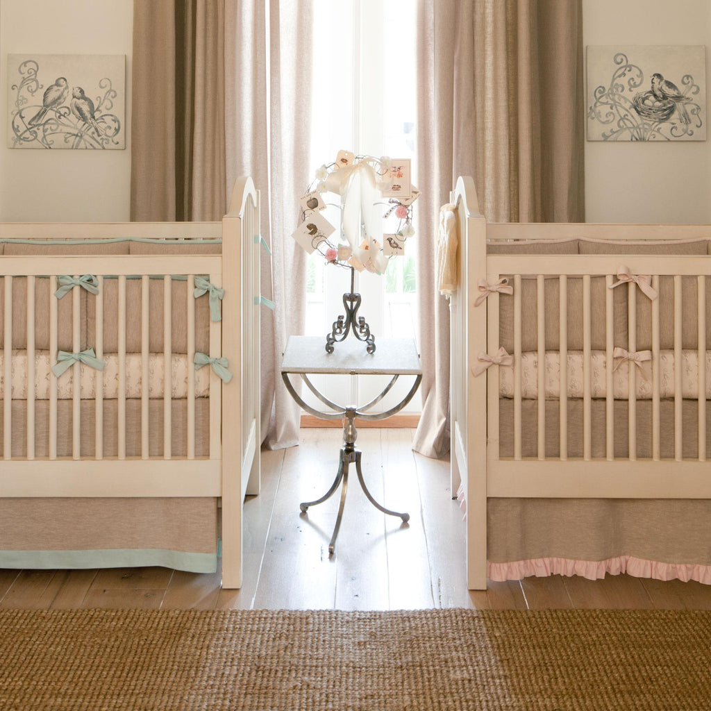 Product image for Light Pink and Flax Linen Crib Rail Cover