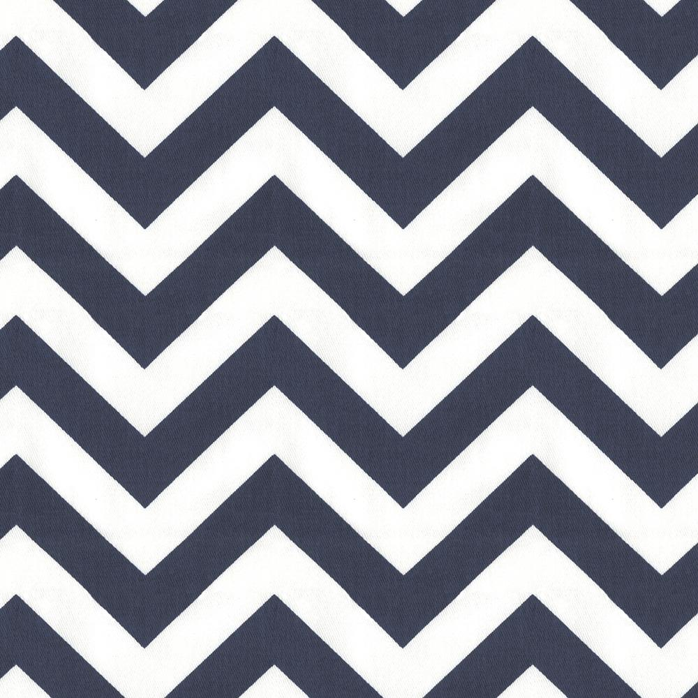 Product image for White and Navy Zig Zag Crib Skirt with Trim