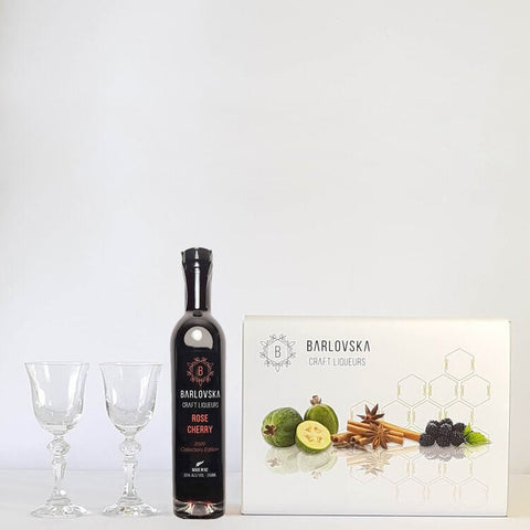 Barlovska Rose Cherry Liqueur Collectors Edition 250ml + 2x 50mL Glasses