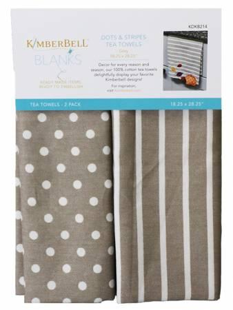 Kimberbell Dots & Stripes Tea Towels - Grey