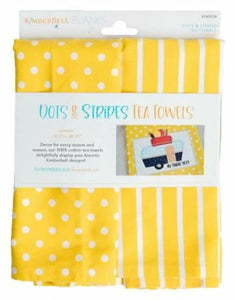Kimberbell Dots & Stripes Tea Towel - Lemon