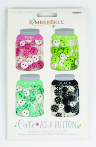 Kimberbell Cute As A Button (Pink, Lime Green, Aqua & Black)