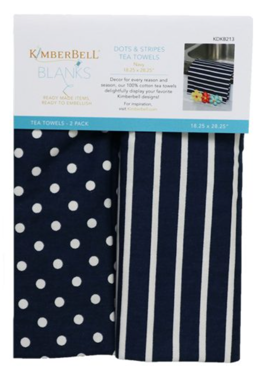 Kimberbell Dots & Stripes Tea Towel - Navy