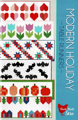 6 modern and simple table runners patterns in one beautiful 24 page booklet. You can find the sizes for each runner in the second photograph of the back of the pattern. All patterns use fat eighths, fat quarters, or large scraps, plus background yardage.