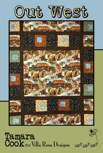 "Out West design by Tamara Cook for Villa Rosa Designs is all cowboy! This pattern was created with the Out West panel and big blocks and sashing all around it.  You can imagine just about any panel and colors using this pattern as well. Finished size 61"" X 74"""