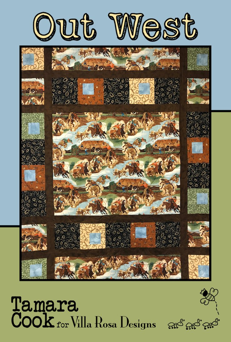 Out West design by Tamara Cook for Villa Rosa Designs is all cowboy! This pattern was created with the Out West panel and big blocks and sashing all around it.  You can imagine just about any panel and colors using this pattern as well. Finished size 61