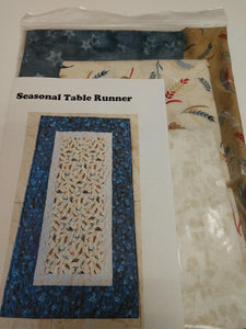 Seasonal Table Runner- Feather Brown and Blue