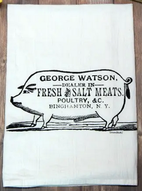 Butcher Sign Flour Sack Tea Towel