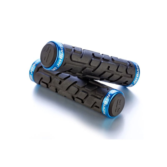 JetBlack Rivet Lock On Grips, Black / Cyan Rings