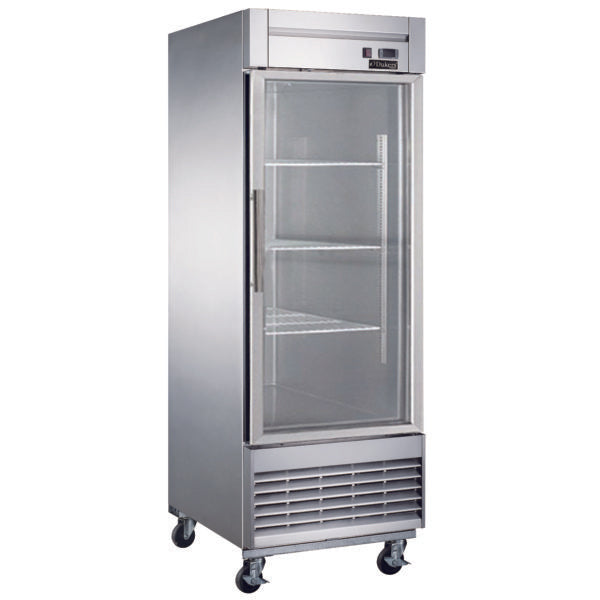 Dukers Bottom Mount Glass Single Door Commercial Reach-in Refrigerator