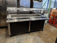 5 Pan Refrigerated Serving Table With Sneeze Guard And Tray Slide