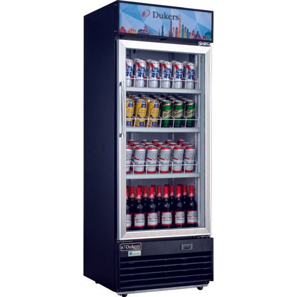 Dukers Commercial Single Glass Swing Door Merchandiser Refrigerator