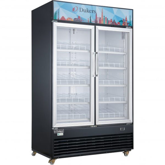 Dukers Commercial Glass Swing 2-Door Merchandiser Refrigerator in Black