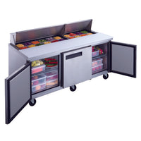 Dukers 3-Door Commercial Food Prep Table Refrigerator in Stainless Steel