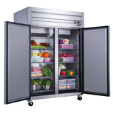 Dukers Commercial 2-Door Top Mount Refrigerator in Stainless Steel
