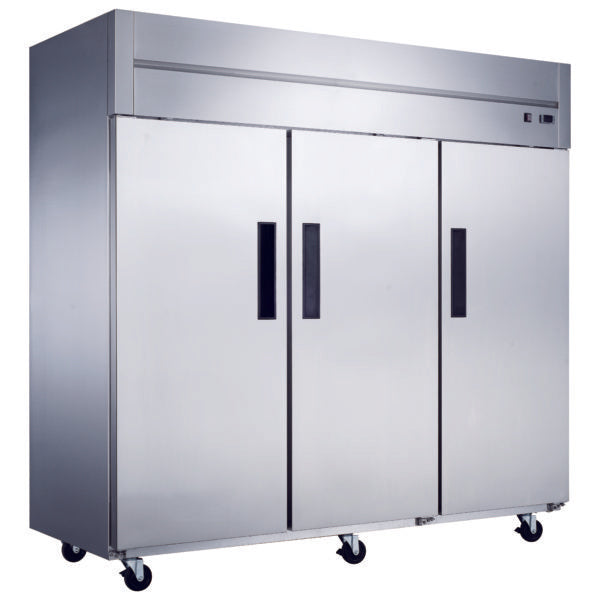 Dukers Commercial 3-Door Top Mount Refrigerator in Stainless Steel