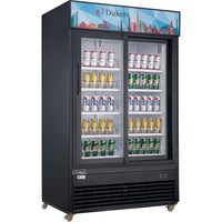 Dukers Commercial Glass Sliding 2-Door Merchandiser Refrigerator in Black