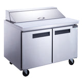 Dukers 2-Door Commercial Food Prep Table Refrigerator in Stainless Steel