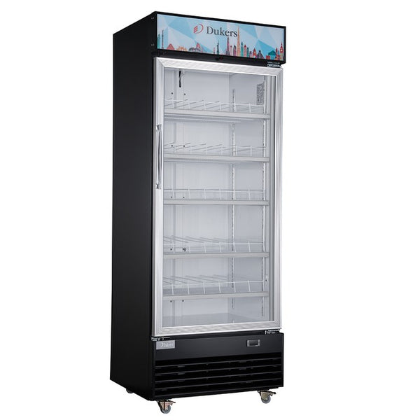 Dukers Commercial Single Swing Door Glass Merchandiser Refrigerator