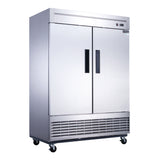 Dukers 2-Door Commercial Refrigerator in Stainless Steel
