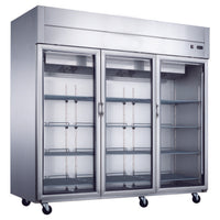 Dukers Top Mount Glass 3-Door Commercial Reach-in Refrigerator