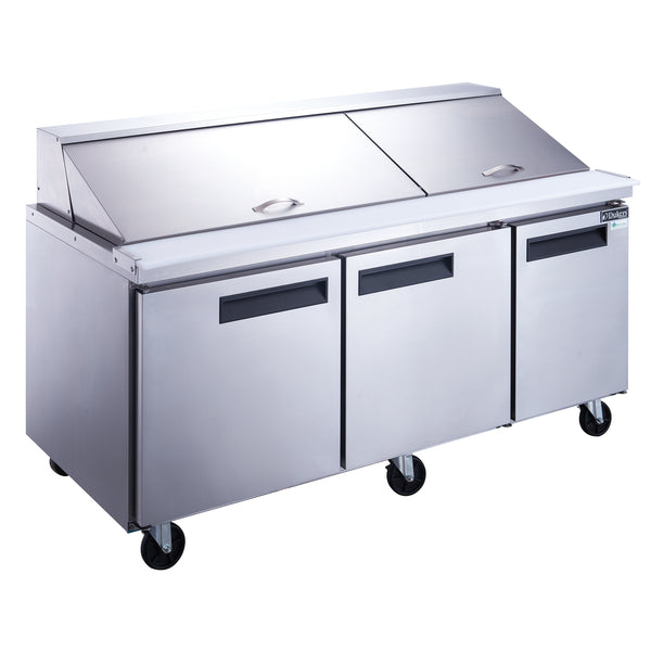 Dukers 3-Door Commercial Food Prep Table Refrigerator in Stainless Steel with Mega Top