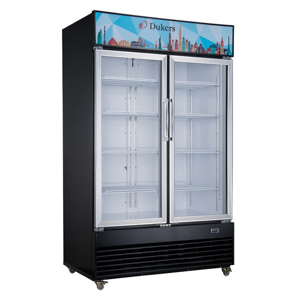 Dukers Commercial Glass Swing 2-Door Merchandiser Refrigerator