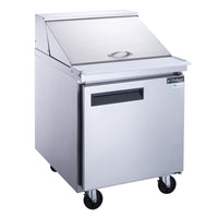 Dukers 1-Door Commercial Food Prep Table Refrigerator in Stainless Steel with Mega Top