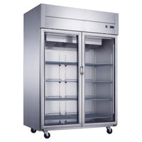 Dukers Top Mount Glass 2-Door Commercial Reach-in Refrigerator