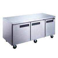 Dukers 3-Door Undercounter Commercial Freezer in Stainless Steel