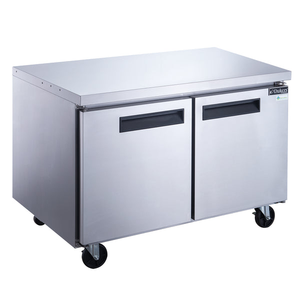 Dukers 2-Door Undercounter Commercial Refrigerator in Stainless Steel