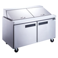 Dukers 2-Door Commercial Food Prep Table Refrigerator in Stainless Steel with Mega Top