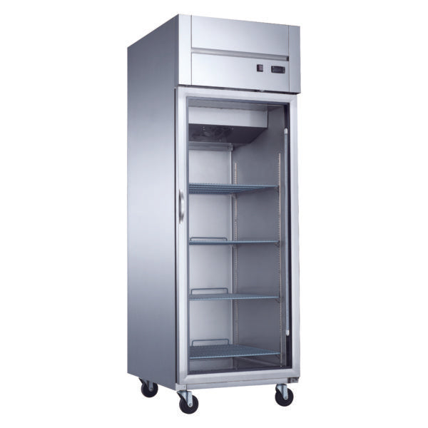 Dukers Top Mount Single Glass Door Commercial Reach-in Refrigerator