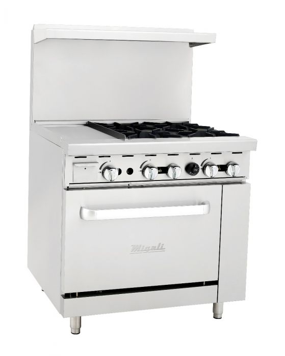"Migali 4 Burner Range, 12"" Griddle Left Side Oven Liquid Propane"