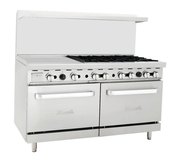 "Migali 6 Burner Range 24"" Griddle Left Side 2 Ovens, Liquid Propane"