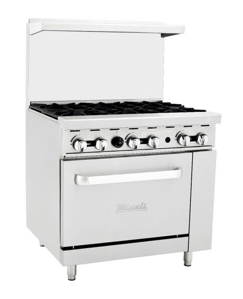 Migali 6 Burner Range 1 Oven, Natural Gas