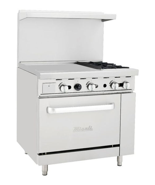 "Migali 2 Burner Range, 24"" Griddle Left Side Oven, Natural Gas"