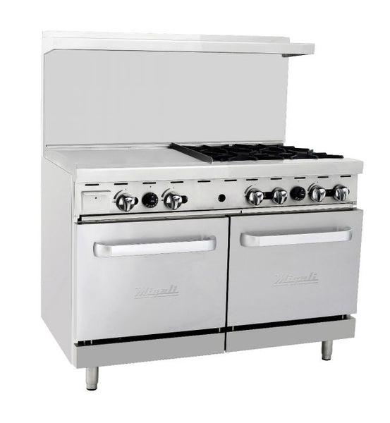 "Migali 4 Burner Range 24"" Griddle Left Side 2 Ovens, Natural Gas"