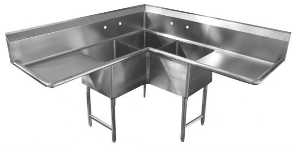 "Corner Series - 14"" 3 Bowl, 18 Gauge 304 Stainless, Cut for 2 Faucets Bowl Depth"