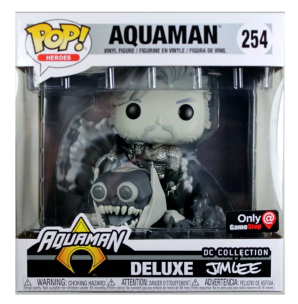 Funko Pop! DC Jim Lee Deluxe Aquaman Exclusive (Black and White) #254