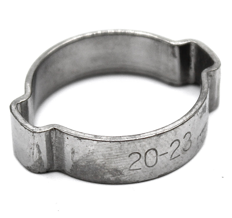 Double Ear Hose Clamp - 20-23mm - 304 Stainless Steel