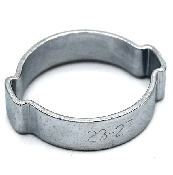 Double Ear Hose Clip - 23-27mm - Zinc Plated Steel
