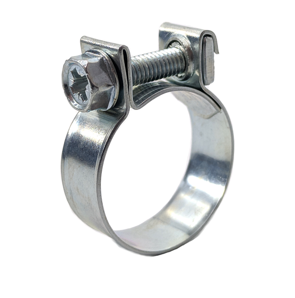Screw Hose Clamp - Mini - Petrol Pipe - 23-25mm - Zinc Plated