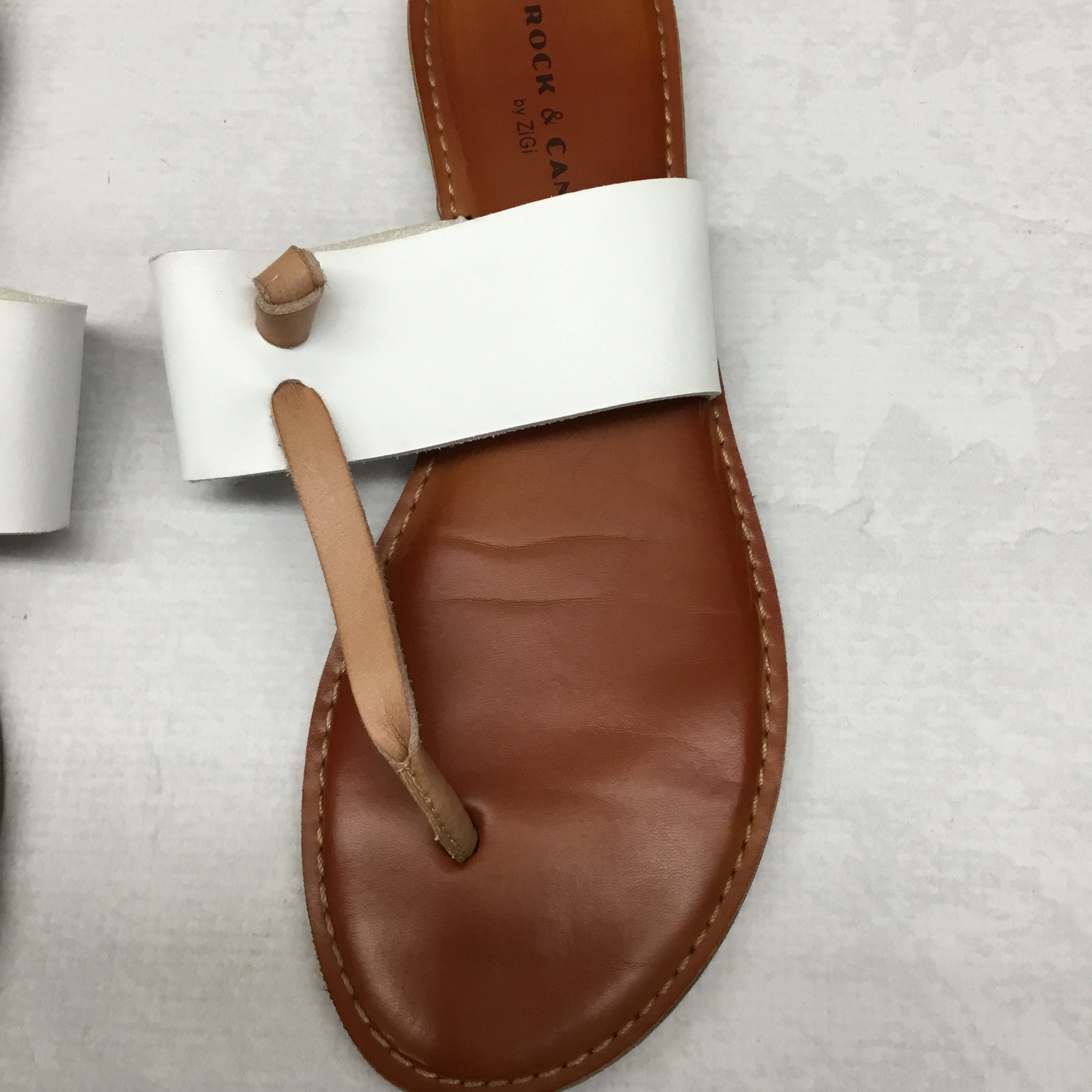 Photo #1 - BRAND: ROCK AND CANDY <BR>STYLE: SANDALS FLAT <BR>COLOR: WHITE <BR>SIZE: 10 <BR>SKU: 191-191229-2513
