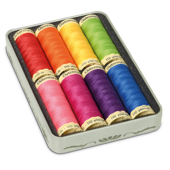 Gutermann 'Nostalgic Box' Sew-All 100m Thread Tin: Pack of 8