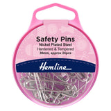 Safety Pins: 27mm: Nickel: 36 Pieces