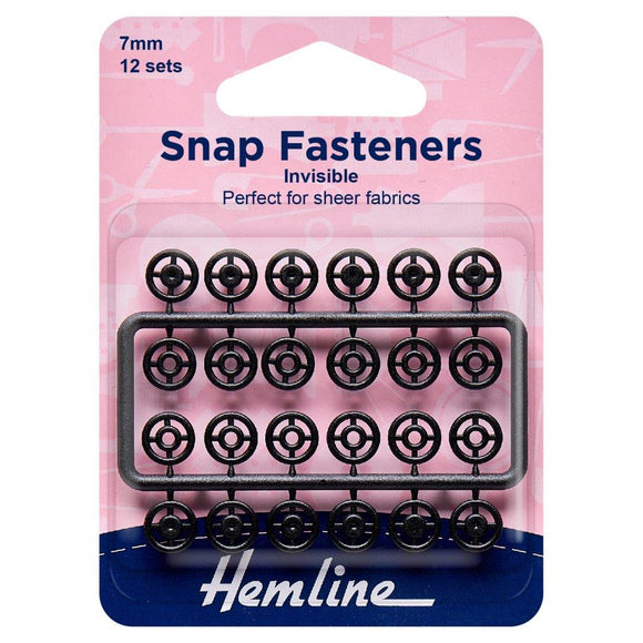 Snap Fasteners: Sew-on: Black (Invisible): 7mm: Pack of 12