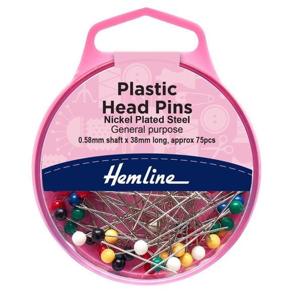 Pins: Plastic Coloured Head: 0.58 x 38mm: Nickel: 75 Pieces